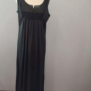 Vintage Long Black Nightgown, Pleats, Lace, L